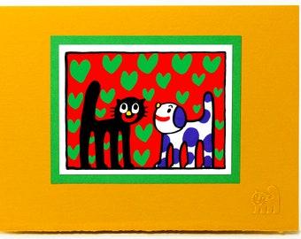Cat and Dog Card.Love card.Kids card.Fun animal card.Art print card. Single card. Blank inside.