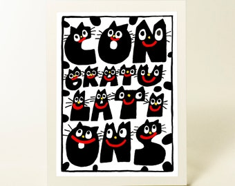 Cute Congratulations card. Funny Congrats. Cats card. New job card. Single card. Blank inside.