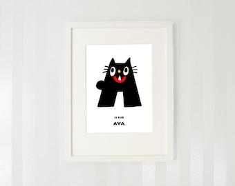 Custom name print Letter A print Baby room art Wall decor Cat print.