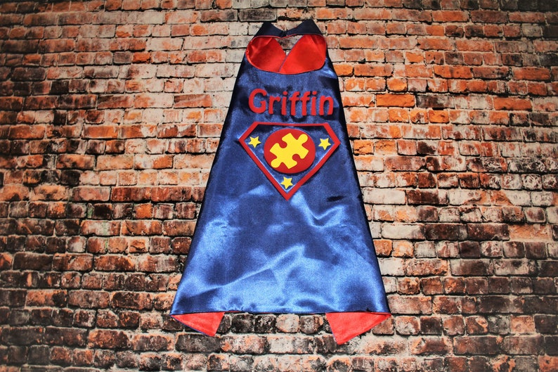 Autism Cape, Super hero cape for autism awareness, you can order with or  without name personalization, blue superhero cape, autism hero