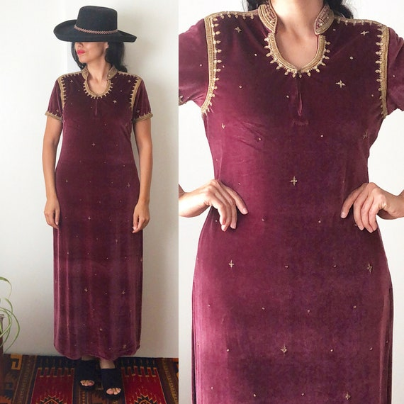 Vintage Indian Velvet Maxi Dress / Ethnic Embroide