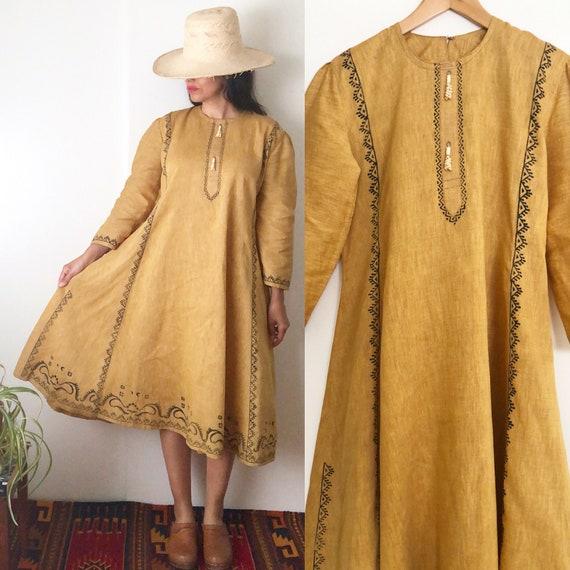 Vintage Indian Block Print Midi Cotton Dress / Eth