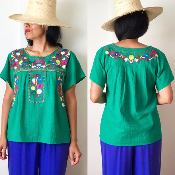 Vintage Mexican Embroidered Blouse / Oaxaca Blouse