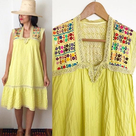 Vintage 80's Mexican Kaftan Summer Dress / Ethnic