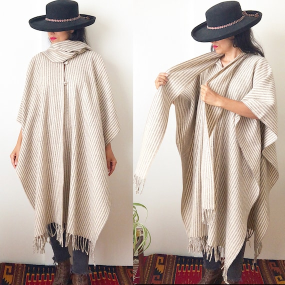 Mexican Wool Poncho / Ethnic Handwoven Poncho