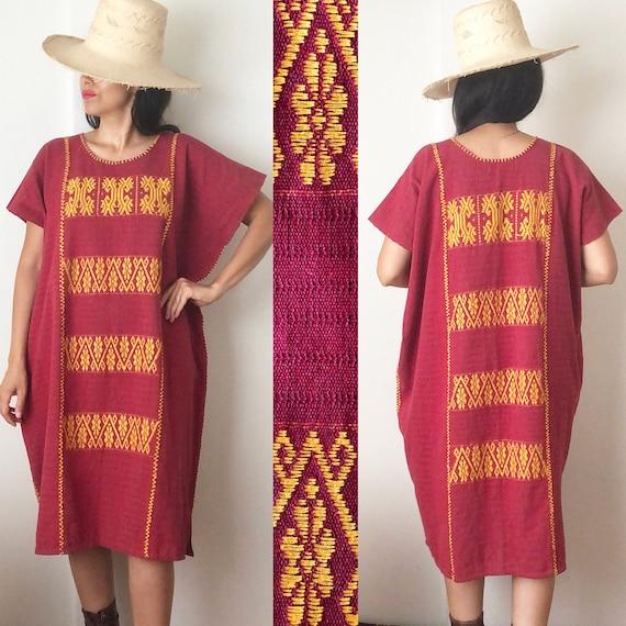 Mexican Cotzocón Huipil Dress / Oaxaca Dress / Mex