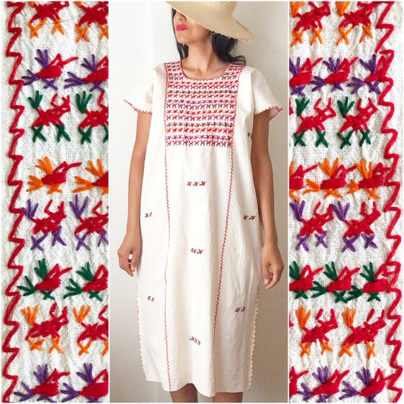 Mexican Tacuate Huipil Dress / Mexican Kaftan / Oa
