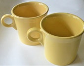 Yellow Fiesta Cups, Fiestaware Cups, Pair of Yellow Mugs, Tom and Jerry Mugs, Yellow Coffee Mugs, Classic Ring Handle, Classic Yellow Cups