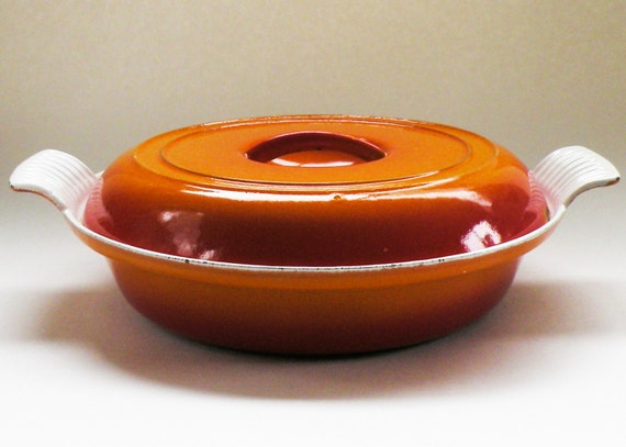Flame Red Orange PreDates Le Creuset Descoware Cherry Flame Divided Pan Belgium Porcelain Made in Belgium Forged in Japan Cast Iron