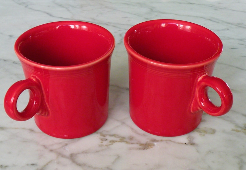 5943a7763a2 Two Red Fiesta Cups Deep True Red Red Coffee Mugs Tom and image 0 ...