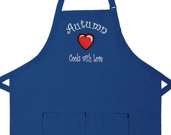 Personalized Apron Cooks with Love Adult Bib Apron
