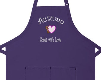 Personalized Apron Cooks with Love II Adult Bib Apron