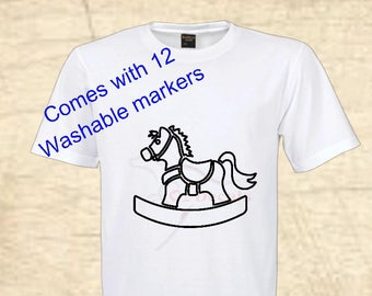 Child T-shirt. Rocking horse with 12 washable markers. Toddler clothing. Clothes. Top. Birthday gift. Christmas gift. Baby shower gift.