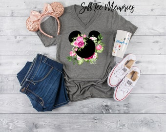 2a9b66c20c0 Minnie Mouse Flowers Shirt Pink Roses Bouquet Disney Vacation - Choose Your  Color Tee - Ladies Teen Women Plus Size Pretty 036