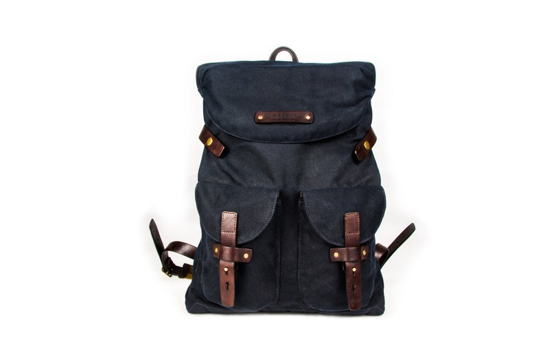 Dark blue urban backpack roll top of waxed canvas and leather   Mens Women/'s rucksack Blue backpack City backpack Christmas gift