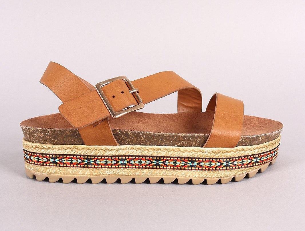 Bambou ruban Tribal Tribal Tribal Liège semelle Flatform Sandal 79a442