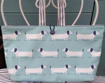 Dog fabric craft project bag,  knitting bag, knitting project bag, knitting needle case, craft storage bag, knitting bags uk, knitter gift