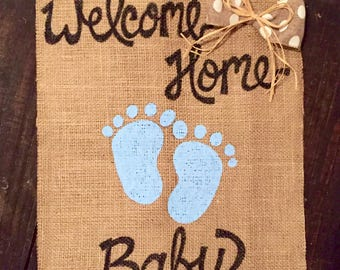 Burlap Garden Flag Welcome Home Baby Gift Sign Shower Gifts