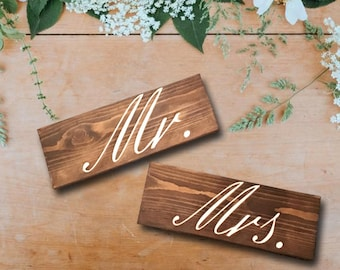 Mr and Mrs Chair Signs - Mr and Mrs Table Place Cards - Mr and Mrs Back of Chair Signs