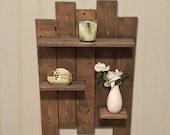 Rustic Wooden Pallet Shelf Features 3 Wooden Shelves Great For Bathroom Shelf and Bedroom Shelf