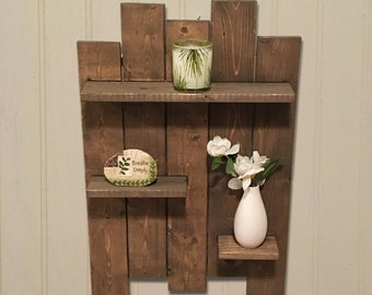 Rustic Wooden Pallet Shelf Features 3 Shelves Great For Bathroom And Bedroom