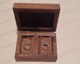 Wooden Ring Box - Ring Bearer Box - Wedding Ring Holder - Rustic Wedding Ring Box