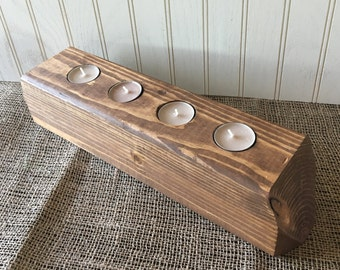 Rustic Candle Holder Centerpiece - Wooden Tea Light Holder - Candle Holder - Multi Tea Light Holder