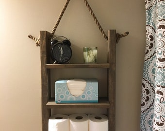 Rustic Ladder Shelf Rope Bathroom Hanging