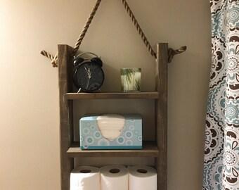 Rustic Ladder Shelf, Rope Shelf, Bathroom Shelf, Hanging Shelf