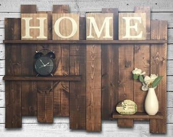 Rustic Pallet Shelf, Wood Shelf, Pallet Wall, Large Rustic Wood Shelves, Long Rustic Wall Shelves