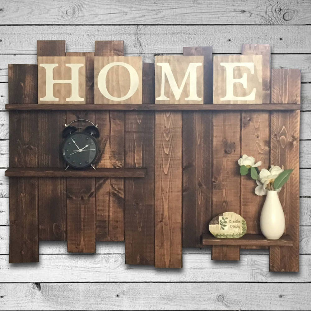 Rustic Pallet Shelf Wood Wall Large