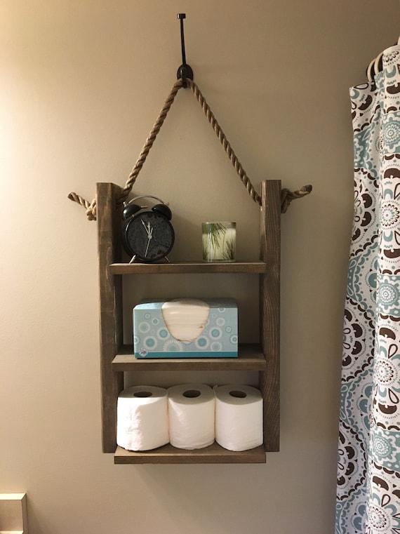 newest 94ba2 5442b Bathroom Shelf, Rustic Ladder Shelf, Rope Shelf, Hanging Shelf With Hook,  Ladder Shelf