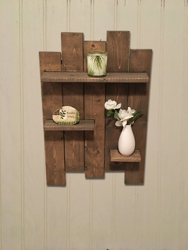 Rustic Wooden Pallet Shelf Features 3 Wooden Shelves Great For Etsy