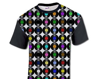 6ac9fb55df4 All Over Print Vinyl Records Graphic T Shirt Music Sublimation Trendy Cool  Festival Fashion