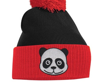 172ff0e007f Pom Pom Beanie Hats for Men Womens Panda Bear Bobble Hats Embroidered Animal  Face Knitted Wooly Hat One Size Fits All Beanie Hat
