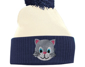 988083766d8 Pom Pom Beanie Hats for Men Kitten Cat Bobble Hats Embroidered Animal Face  Knitted Wooly Hat One Size Fits All Beanie Hat