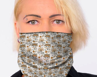 Face Mask fabric covering Tubular Neck Warmer White Indian Paisley Snood Bandana Men Woman- Multi-Use Sports Head Wrap