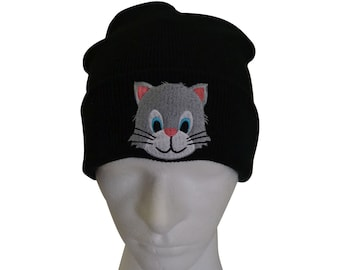 4902d76e50e Cute Cat Kitten Embroidered Turn up Fashionable Ribbed Knit Beanie Hat ONE  SIZE Gifts For Her Gifts For Him