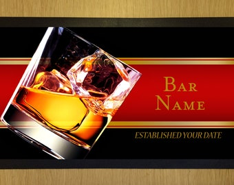 Personalised Red Beer Label Lager Glasses Bar Towel Pub Runner Party Mat