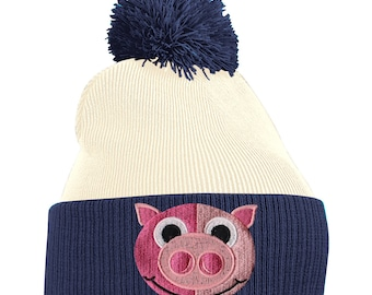 2fd200c452a Pom Pom Beanie Hats for Men Pig Piglet Face Bobble Hats Embroidered Animal  Face Knitted Wooly Hat One Size Fits All Beanie Hat