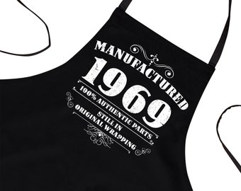 50th Birthday Gift For Men Chef Fathers Day Grilling Grandfather Husband Baking Him Funny Apron Manufactured 1969