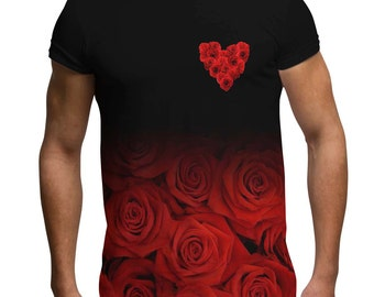 c26ccc30c2d All Over Print Floral Graphic T Shirt Black Red Roses Fade Love Heart  Sublimation Trendy Cool Festival Fashion