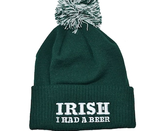St Patricks Day - Irish Beanie Bobble Hat -  I had a Beer  38369cea1862