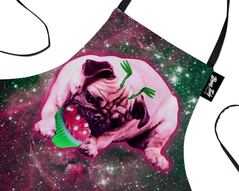 Funny Baking Apron Space Pug \u2013 Novelty Cooking Chef Gift For Men \u2013 Womens Baking Gift Full BBQ Grilling Kitchen Apron