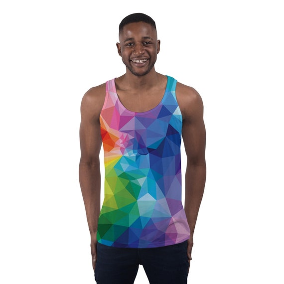 e6244295 Mens Holiday Vest Geometric Colour Tank Top Festival Clothing – Tank Mens  Summer Clothing Holiday Outfit – Resort Wear Workout Tank Top