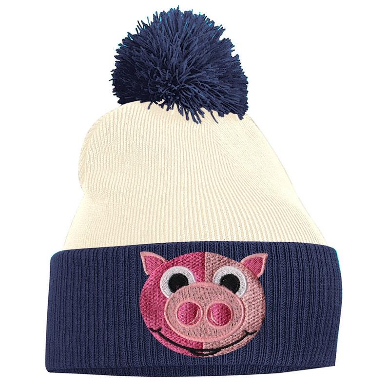 9940aa73cbb Pom Pom Beanie Hats for Men Pig Piglet Face Bobble Hats