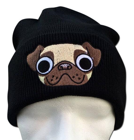Pug Beanie Pug Gifts Pug mug face Animal pug bobble hat  41d18f0c8e