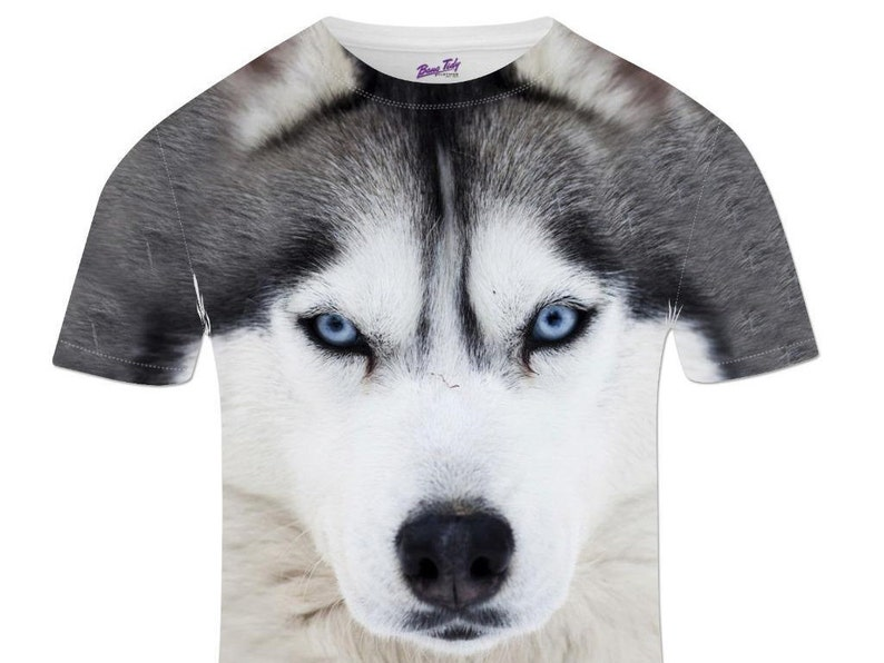 ae51ff025ffd Mens Animal Print Husky Dog T shirt Wild Animal All Over