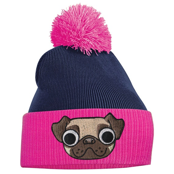 Pug Beanie Pug Gifts Pug mug face Animal pug bobble hat  e1d675f26ac