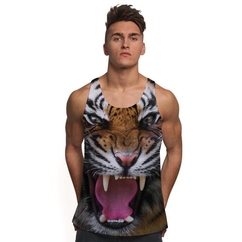 27b2ddcd Mens Holiday Tank Top Vest Tiger Face Festival Clothing | Etsy